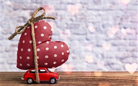 Preview wallpaper Toy car and big love heart