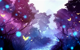 Trees, mountains, butterfly, art picture