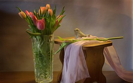 Tulips, toy bird, still life