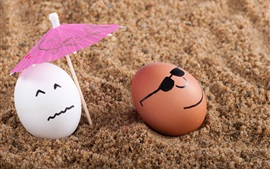 Preview wallpaper Two eggs, umbrella, sands, humor