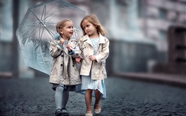 Preview wallpaper Two little girls, friends, umbrellar