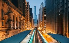 壁紙のプレビュー アメリカ、シカゴ、都市、高層ビル、夜、ライト