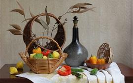 Овощи, корзина, перец, бутылка, натюрморт