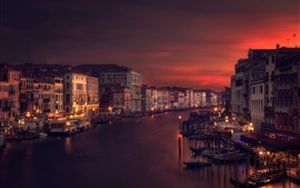 Preview wallpaper Venice, Italy, river, houses, night