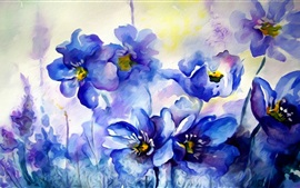 Preview wallpaper Watercolor painting, blue flowers