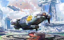 Preview wallpaper Watercolors, fiction, spaceport, future style