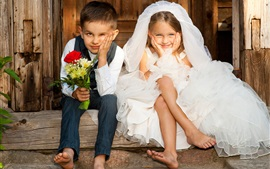 Preview wallpaper Wedding game, children, bride, boy, girl, flowers