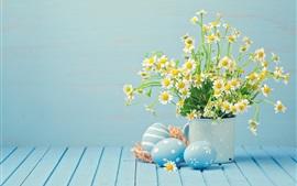 Aperçu fond d'écran Fleurs de camomille blanche, oeufs, Joyeuses Pâques
