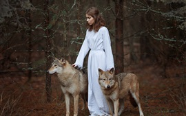 White dress girl, two wolves