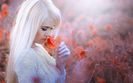 Preview wallpaper White hair girl, red poppy flower