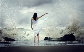 Preview wallpaper White skirt girl back view, sea, water splash, beach