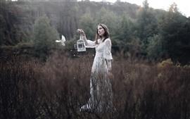 Preview wallpaper White skirt girl, bird, bushes