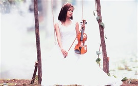 Preview wallpaper White skirt girl play violin, swing
