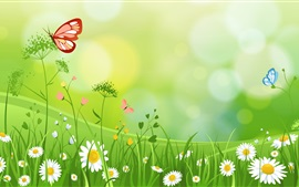 Preview wallpaper Wildflowers, butterfly, summer, art picture