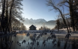 Winter, house, pond, snow, trees, mountains
