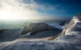 Mañana de invierno, nieve, árboles, montañas