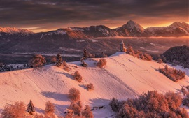 Preview wallpaper Winter, mountains, snow, church, trees