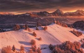 Inverno, montanhas, neve, igreja, árvores