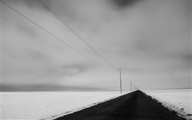 Winter, snow, road, power lines