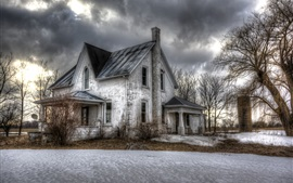 Winter, snow, trees, house, clouds, dusk