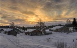 Winter, snow, village, dusk, Arkhangelsk oblast, Russia