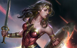 Preview wallpaper Wonder Woman, sword, superhero, art picture