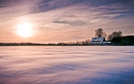 Preview wallpaper Wood lodge, snow, winter, trees, sunset