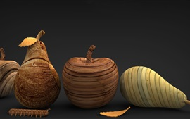 Wooden fruit, artworks