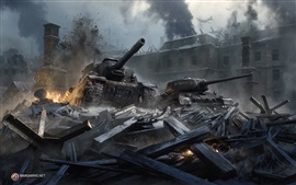 Preview wallpaper World of Tanks, Stalingrad, destruction, city