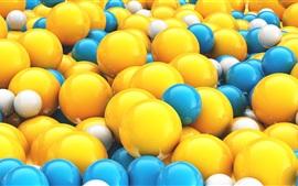 Bolas 3D amarelas e azuis