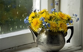 Preview wallpaper Yellow dandelions, blue forget-me-nots, kettle, windowsill