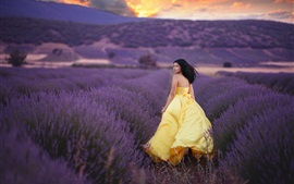 Yellow skirt girl look back, lavender fields