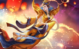 Preview wallpaper Yuanri, Heroes of Newerth, Chinese girl, flight