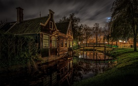 Zaanstad, Netherlands, house, lights, river, night, trees