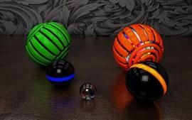Aperçu fond d'écran Balles 3D, coloré, fond noir