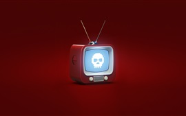 Preview wallpaper 3D design, TV, skull, red background