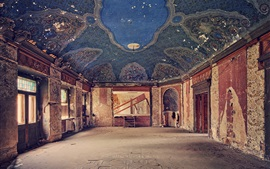 Abandoned palace, hall, room, decay, dust