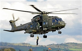 Preview wallpaper AgustaWestland AW101 helicopter, soldiers
