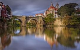 Amarante, Portugal, rivière, pont, maisons
