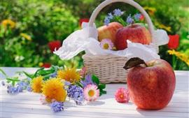 Preview wallpaper Apples, flowers, basket