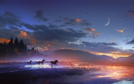 Art design, mountains, horses, moon, clouds, night, lights