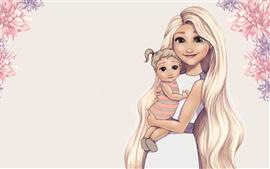 Art drawing, green eyes girl and baby