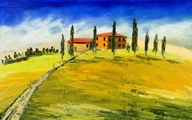 Pintura de arte, Toscana, Itália, casas, árvores