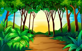 Preview wallpaper Art picture, trees, path, nature
