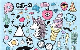 Preview wallpaper Art sketch, unicorn, ice cream, apple, egg, lightning, colorful