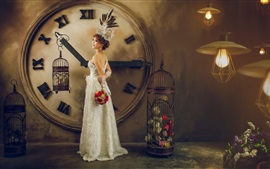 Preview wallpaper Asian girl, bride, clock, flowers