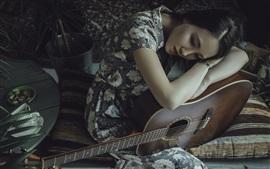 Aperçu fond d'écran Fille asiatique, guitare, tristesse