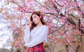 Asian girl, pink flowers bloom, tree, spring