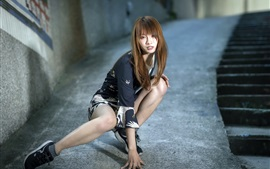 Preview wallpaper Asian girl, pose, street