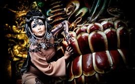 アジアの女の子、レトロスタイル、メイク